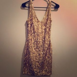 GORGEOUS gold sequin NWT Bebe dress